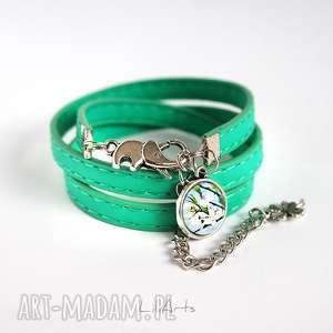 hand-made bransoletka - słonik zielona, eko-skóra, owijana