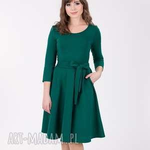 SOFI sukienka rozkloszowana z rękawem 3/4, butelkowa zieleń., sukienka, koktailowa