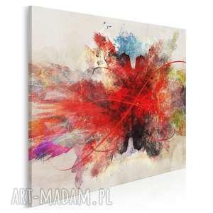 obraz na płótnie - abstrakcja czerwony w kwadracie 80x80 cm 74802