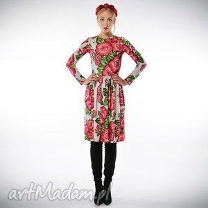 Bugumiła - szara sukienka w czerwone kwiaty, szyfonowa, sukienka, kwiaty