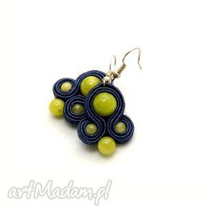 kolczyki sutasz z jadeitami, sznurek, soutache, małe, limonka, kolorowe