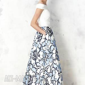 ręcznie wykonane spódnice spódnica maxi w błękitne kwiaty