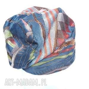 haftowana wzorzysta orientalna czapka smerfetka - haft, czapka, turban, boho, etno