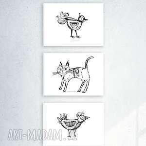 3 plakaty biało-czarne, ładne plakaty, zwierzęta grafiki, fajne