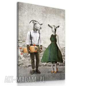 ludesign gallery obraz w stylu retro, para kóż kozłowskich ubrana