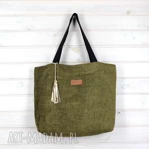Prezent Amelia zielona torebka shopperka pojemna, torebka, duża,