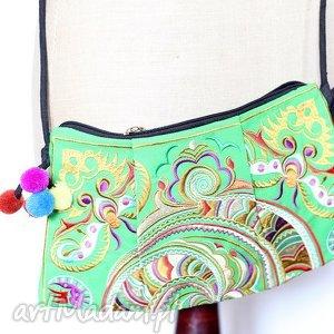 wyjątkowy prezent, na ramię torba haftowana orientalna, płótno, ludowa, haft, boho
