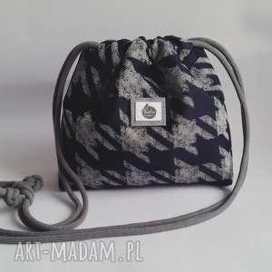 hand-made mini mała torebka wodoodporna - pepita & denim