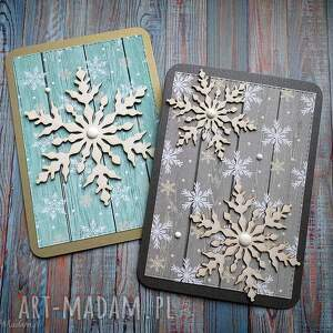 unikalny, świąteczny dwupak, życzenia świąteczne, święta, śnieżynki, kartka na
