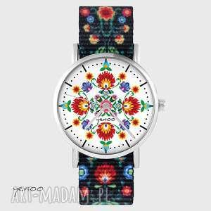 zegarek - folkowa mandala folk czarny, nato, zegarek, bransoletka
