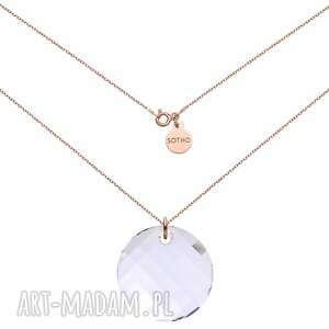 naszyjnik z różowego złota z okrągłym kryształem