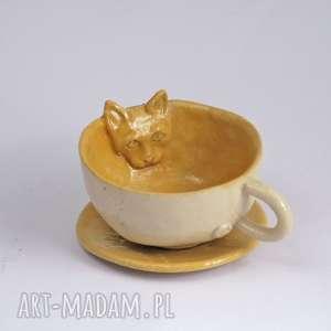 Ceramiczna filiżanka kubek z kotem miodowa - przecena, kubek, filiżanka, zkotem