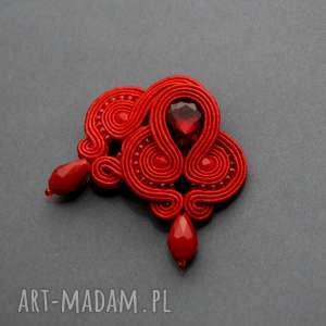 klipsy czerwone sutasz, sznurek, eleganckie, wiszące, wieczorowe, szkło