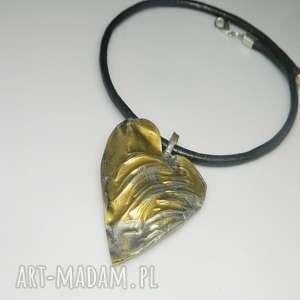 serce z mosiądzu-N6, wisior, mosiądz, unikatowa-biżuteria, unikatowe-serce