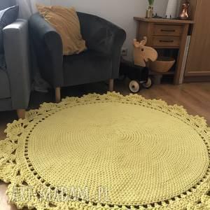 Dywan pleciony koronka 120 cm, dywanżółty, dywan-pleciony, dywanbawełaniany