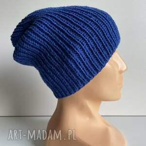 ręcznie robiona czapka hand made ściągacz 100 baby merino 33 niebieski