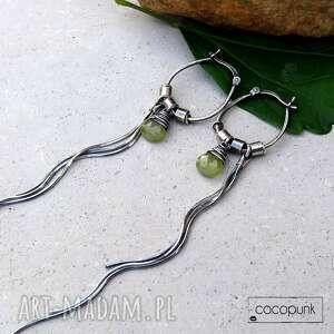 srebro i wezuwian - bardzo długie kolczyki, długie