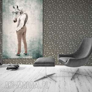 Prezent Obraz na płótnie - 80x120cm PAN KOŃ 02282 wysyłka w 24h, koń, hipster, obraz