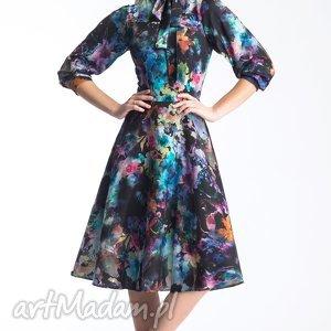 sukienki sukienka leoni midi azalia, wiązanie, stójka, midi, sukienka, koło