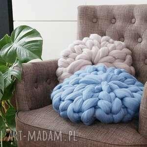 poduszki poduszka czesankowa niebieska, poduszka, czesankowa, wełniana, okrągła