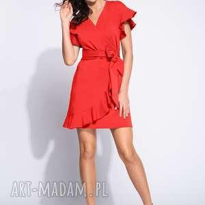 czerwona sukienka kopertowa z falbanką, kopertowa, dzienna