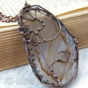 naszyjnik wisiorek z łańcuszkiem agatem brązowym, kamieni