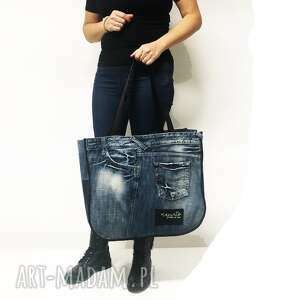na ramię duża torba upcykling jeans 43 pepe jeans, upcykling, upcycling