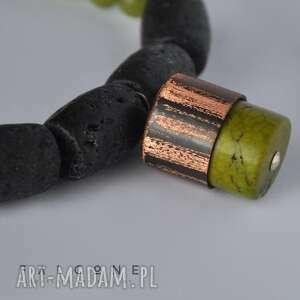 w cylindrze - naszyjnik, oryginalny, prążki, jadeit, howlit, rzemyk