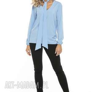 Elegancka bluzka z dekoltem i krawatem, T244, błękitny, elegancka, bluzka, szyfon,
