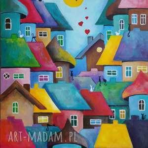 obraz na płótnie bajkowe miasteczko format 50/40 cm, abstrakcja, koty, serca, domki