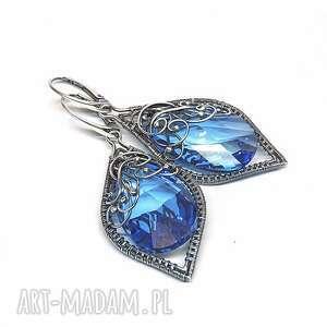 kolczyki medium sapphire, kolczyki, srebro, kryształ, niebieski, swarovski, hajcz
