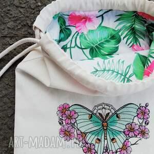 plecak z haftem ćma księżycowa - ręczne wykonanie
