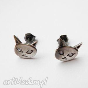 kolczyki - kot filemon ii szary, biżuteria, srebro, kolczyki