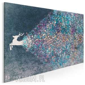 obraz na płótnie - jeleń niebieski 120x80 cm 49403, jeleń, artystyczny