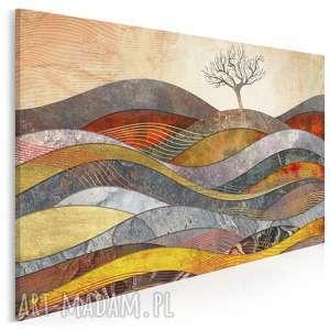 Obraz na płótnie - drzewo wzgórze fale 120x80 cm 72601 vaku dsgn