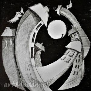 Klimatyczny rysunek piórkiem MIASTECZKO artystki plastyka Adriany Laube,