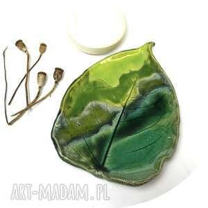 """Ceramiczna mydelniczka spodeczek """"zielony liść"""", rzemiosło"""