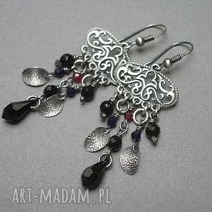 Jasmine vol. 3 - kolczyki, orientalne, srebro, onyks, granaty, szafiry