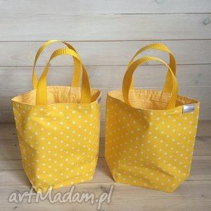 Marina na żółto, kropki, paski, pudełka, lunchbox, lunch, śniadanie