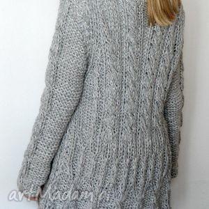handmade swetry szary kardigan