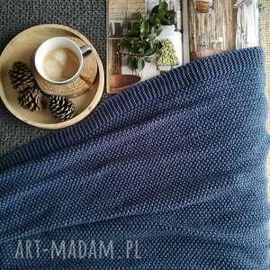 koc narzuta kolor jeans 120x180, wełniany, z wełny, niebieski