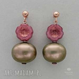 anemony z perłą oliwkową, sztyfty, metal, szkło, perła, kwiatek