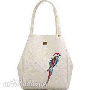torebka pikowana papuga 229 kremowa, pikówka, papuga, uszta, modna, elegancka