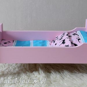 Drewniane łóżeczko dla lalek, łóżeczko, pościel, kołyska, lalka, miś, drewno
