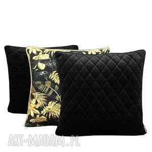 poduszki velvet, komplet czerń i złoto 45x45cm, złoto