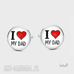 Spinki do mankietów love my dad laluv tata, ojciec, ojca, dzień