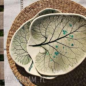 ręczne wykonanie ceramika liście łopianu talerze ceramiczne