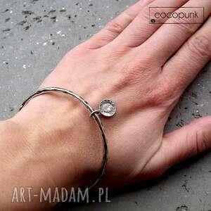 bransoleta z monetką - srebro - z zawieszką, nowoczesna, z charmsem