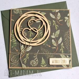 kartka ślubna las ciemna zieleń, ślub, ślubna