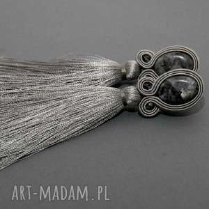 kolczyki sutasz z labradorytami, sznurek, eleganckie, wiszące, grafitowe, długie